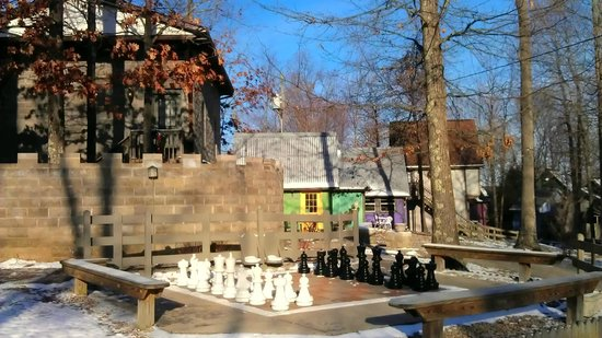 Ravenwood Castle: Life sized chess board, Fairy Tale Village to the right, Cinderella's Coach House to left