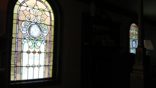 Ravenwood Castle: Cinderella's Coach House, morning light through stained glass windows
