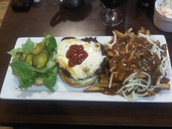 Green Door Cafe: House Burger with side of Poutine