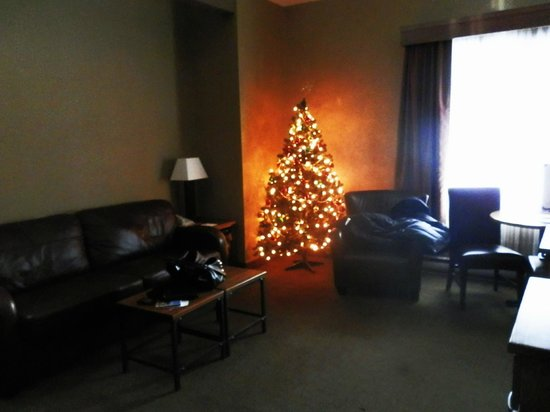 Banff Caribou Lodge & Spa: living room with festive tree