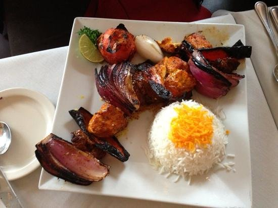 Marjan Fine Persian Grill: chicken and steak kabab with onions (no green peppers)