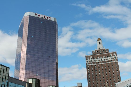 "Bally's Atlantic City: Claridge & main tower showing minimal hurricane Sandy damage to ""Bally's"" lettering"