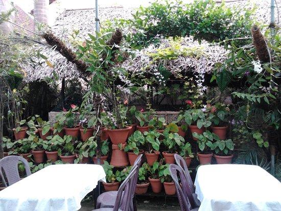 Elite Hotel : restaurant in the garden
