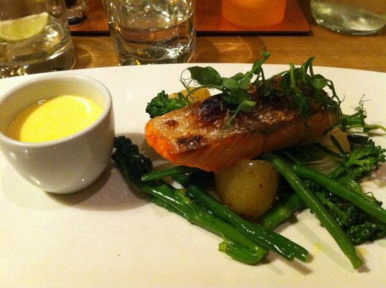 The Pheasant Inn: Baked Salmon, The Brasserie, Pheasant Inn (even ate the skin - delicious)