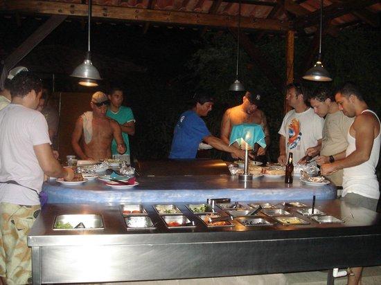 Vista de Olas Restaurant : Being social at the BBQ.