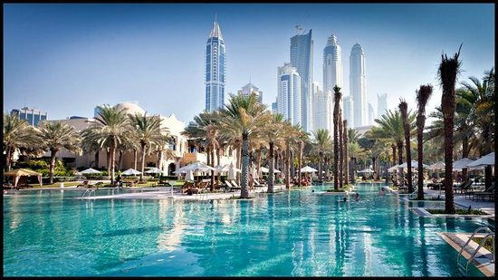 The Palace at One&Only Royal Mirage Dubai: Pool with the worlds tallest block in the background