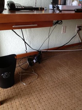 Four Points by Sheraton Miami Beach: poor wiring under desk. totally exposed.
