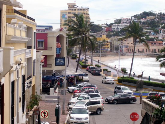 Looking down the street at El Shrimp Bucket