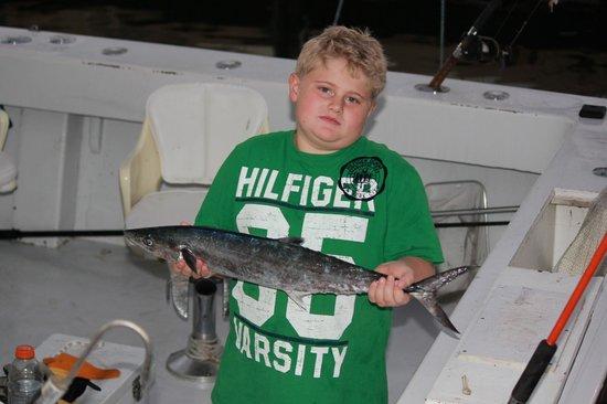 Lady Pamela 3 Dritfishing: My son with his king fish aboard lady pamela