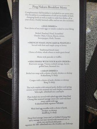 ปิงนครา บูติค โฮเทล แอนด์ สปา: menukaart ontbijt