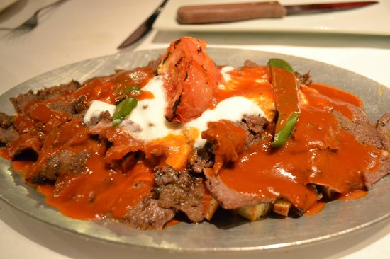 Levantes: Adana Yogurt.   A long skewer of ground lamb, seasoned with Levante's blend of spices