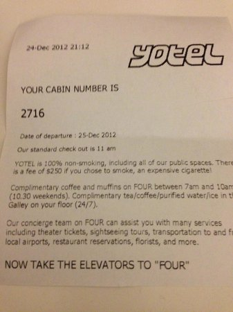 YOTEL New York: info upon arrival