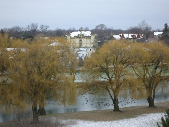 Bavarian Inn Lodge: View from riverside room with balcony. See the geese?