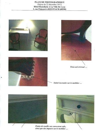 Hostellerie a la Ville de Lyon : Le mobilier sale et dégradé de la chambre supérieur