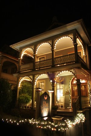 The John Wesley Inn front view with Christmas lights