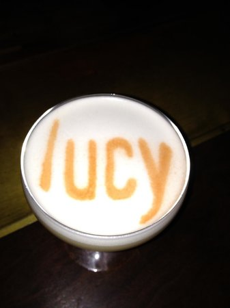 Bardessono: Vince's bourbon cocktail; Lucy is spelled with housemade bitters