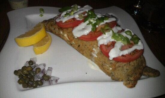 The Killarney: salmon boxty - salmon & creamy cheese in an Irish pancake