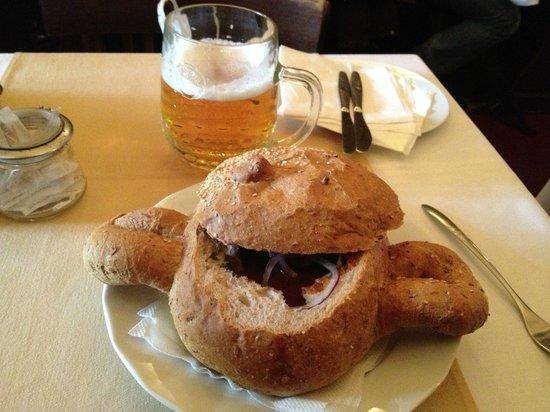 U Kostela (near church): Goulash served inside bread...