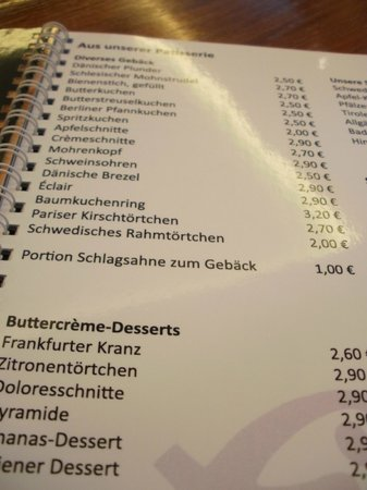 Cafe Konditorei Fiedler: Menu with Scandinavian desserts