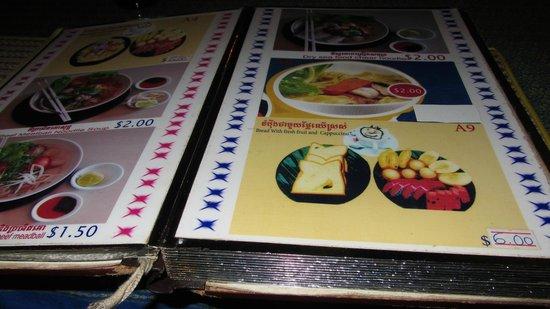 Sovann Phum Hotel: breakfast menu