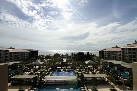 Mulia Resort: view from the Cascade Lounge of the resort