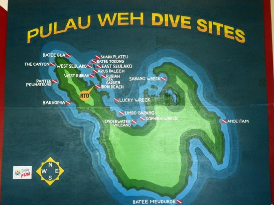 Rubiah Tirta Divers: map of dive spot in Weh Island