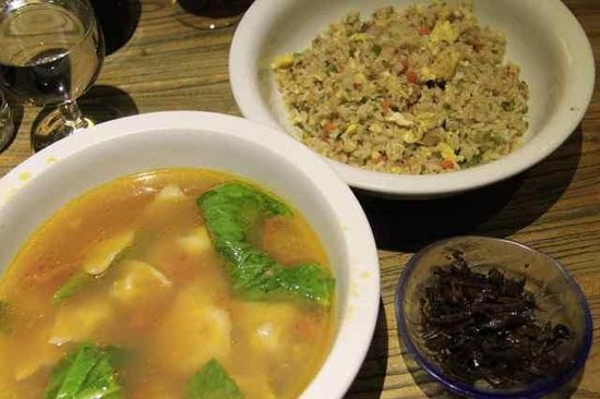 Brickyard Retreat at Mutianyu Great Wall: Bacon+Egg Fried Rice and Wanton Soup with pickles