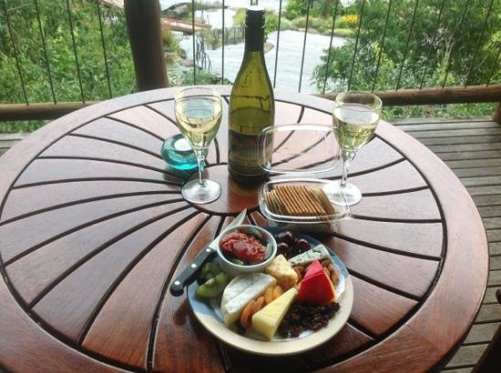 Secrets on the Lake: cheese platter on the deck of possums