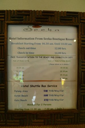 Seeka Boutique Resort: Free transportation info
