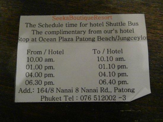 Seeka Boutique Resort: Free transportation info 