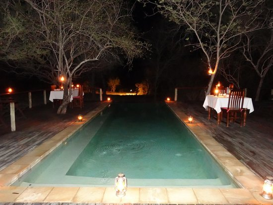 Toro Yaka Bush Lodge: Pool bei Nacht