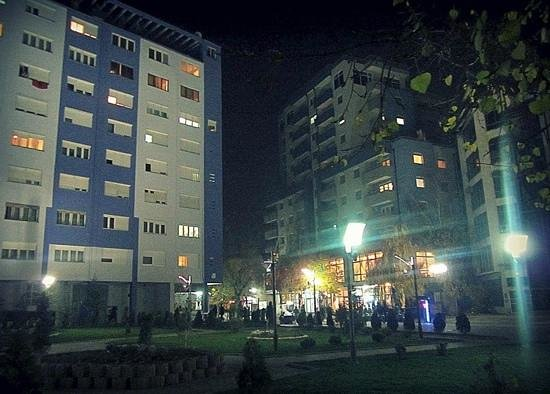 Mitrovica neighborhood at night
