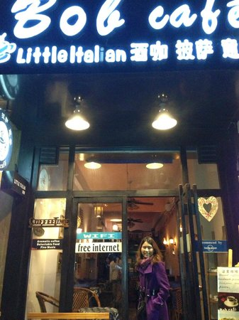 Little Italian: Cozy front entrance, night time.