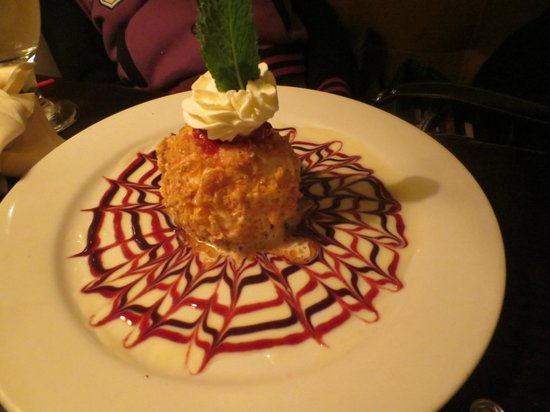 Mazzeo's Ristorante : Walnut and coconut encrusted fried ice cream...yummy!