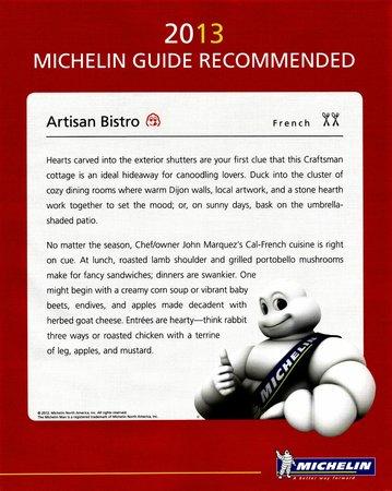 Artisan Bistro: Michelin 2013