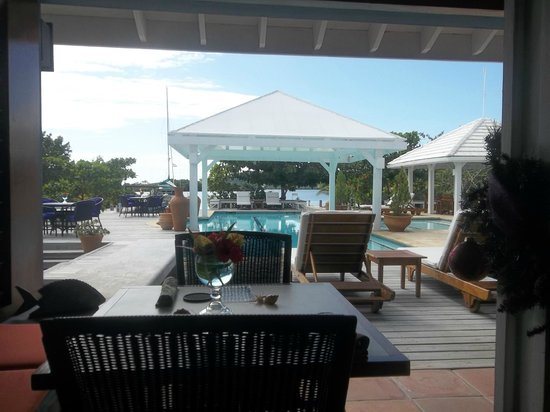Barefoot Cay: View from inside dining area