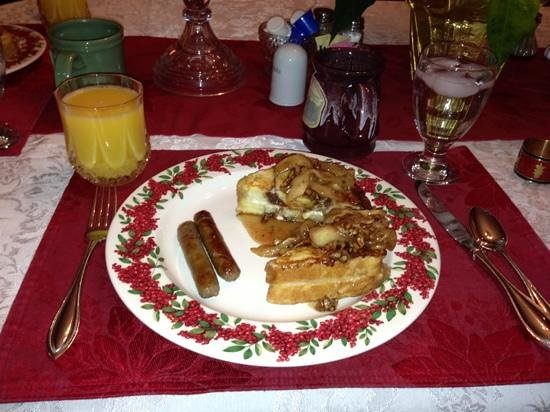 The Miller's Daughter Bed and Breakfast: apple stuffed French toast. Perfect on a winter morning.