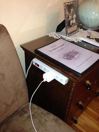 The Miller's Daughter Bed and Breakfast: handy outlet for electronics.