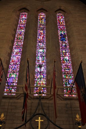 Cathedral of the Most Holy Trinity (Bermuda Cathedral): Stained-glass side-by-side...
