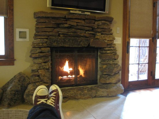 Five Pine Lodge & Spa : Wonderful gas fireplace