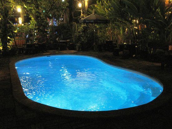 Log Home Boutique Hotel: Pool @ Night