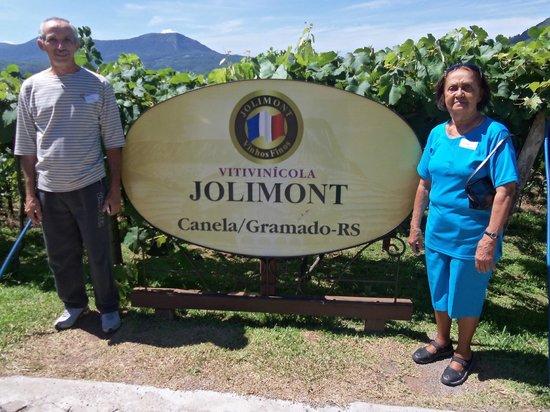 Jolimont Winery: Meu esposo e minha mãe próximos às plantações de uvas.