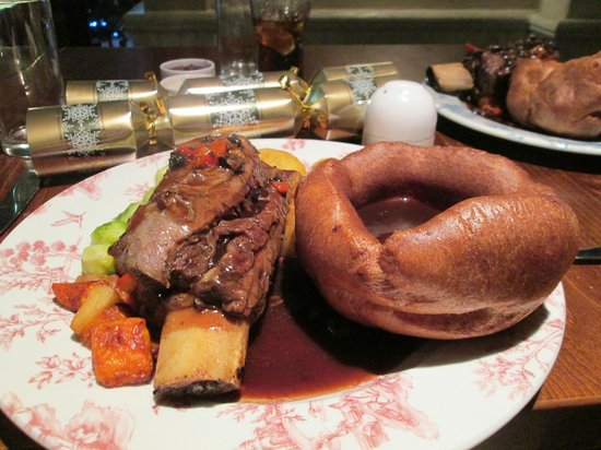 Feathers: rib of beef , huge yorkie and roasted veg