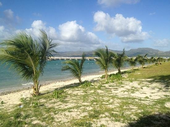 Cocos Island Resort: palms flank the beach on Cocos Island, Guam