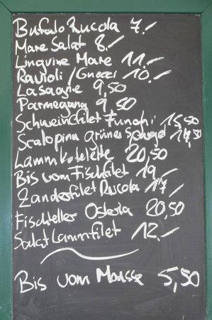 Landhotel Hirsch: Osteria Antica, Tafel zu Tagesgerichten