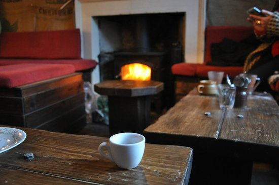 artisan roast: My espresso surveys the Mooch, perhaps the perfect spot to drink coffee