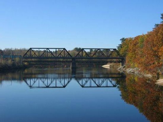 "Androscoggin Brunswick-Topsham Riverwalk: The ""Black Bridge"" upstream from the Androscoggin Swinging Bridge"