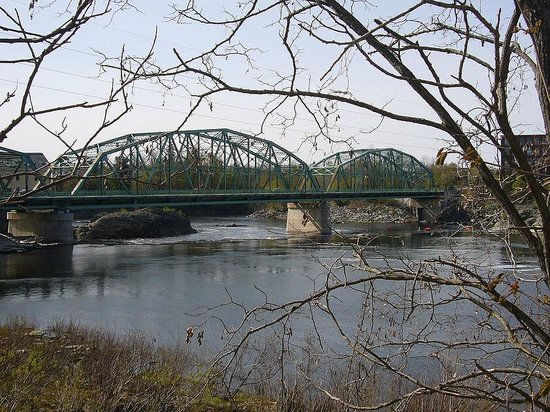 "Androscoggin Brunswick-Topsham Riverwalk : Frank J. Wood (""Green"") Bridge seen from Topsham"