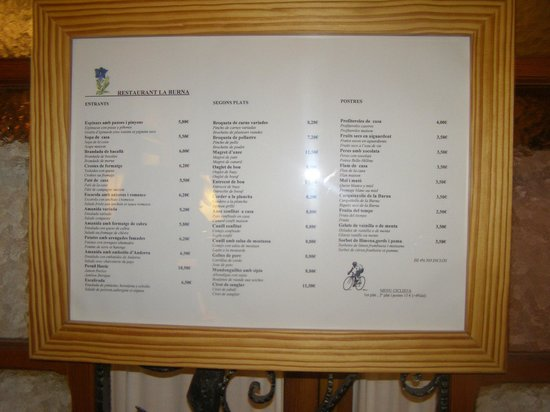 Hotel La Burna: carte du restaurant