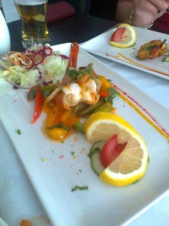 Ma ida Table Spread: The biggest prawn i have seen